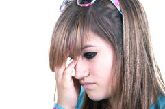 Redhead teenage with migraine. On white background Royalty Free Stock Images