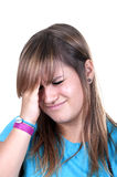 Redhead teenage with migraine. On white background Stock Photography