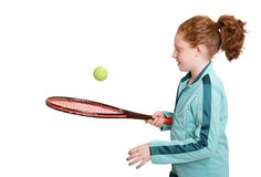 Redhead and tennis racket Royalty Free Stock Photos
