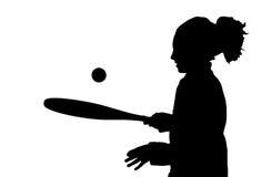 Redhead and tennis racket Stock Photos