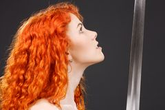Redhead warrior stock photos