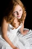 Redhead wearing White Dress Royalty Free Stock Photos