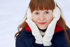 Redhead winter woman Royalty Free Stock Images
