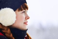 Redhead winter woman Stock Photo