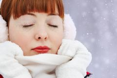 Redhead winter woman Stock Image