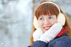 Redhead winter woman Stock Images