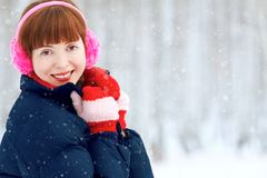 Redhead winter woman Royalty Free Stock Photos