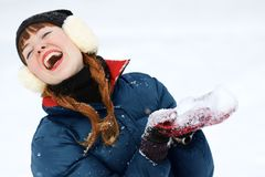 Redhead winter woman Royalty Free Stock Photo