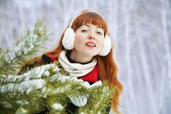 Redhead winter woman Stock Photography