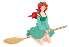 Redhead witch riding broom. Vector illustration isolated on white background. Redhead witch in green dress riding broom. Vector illustration isolated on white Royalty Free Stock Image
