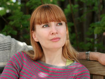Redhead woman. Happy mature woman outdoors Royalty Free Stock Images