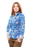 Redhead woman in blue shirt Royalty Free Stock Photography