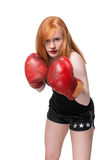 Redhead woman boxer Royalty Free Stock Image