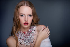 Redhead woman with bright makeup Stock Photo