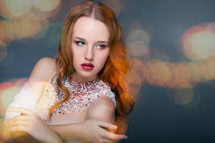 Redhead woman with bright makeup Stock Photos