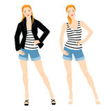 Redhead woman in clothes for summer. Vector illustration of redhead woman in clothes for summer isolated on white background. Blue shorts of jeans fabric. White Royalty Free Stock Photos