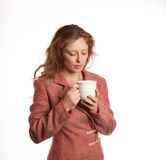 Redhead woman with Coffe Cup Royalty Free Stock Photo