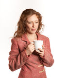Redhead woman with Coffe Cup Royalty Free Stock Image