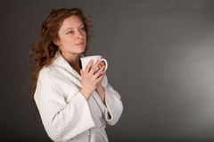 Redhead woman with Coffe Cup Royalty Free Stock Photos