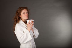 Redhead woman with Coffe Cup Stock Images