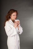 Redhead woman with Coffe Cup Royalty Free Stock Images