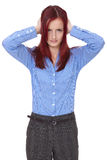 Redhead woman cover her ears, silence please Stock Image