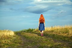 Redhead woman in a dress outdoors. romantic young girl on nature in field royalty free stock photography