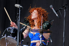 The redhead woman drummer of Deap Vally (band), performs at FIB (Festival Internacional de Benicassim) 2013 Festival Royalty Free Stock Photo