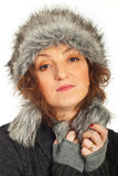 Redhead woman with fur hat Royalty Free Stock Images