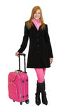 Redhead woman going to travel Stock Photos
