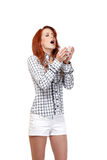 Redhead woman with handkerchief. Red head woman has allergy Stock Image