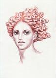 Redhead woman head Stock Photo