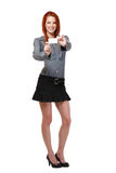 Redhead woman holding a blank businesscard Royalty Free Stock Image