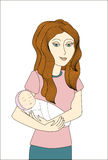 Redhead woman holding newborn baby Royalty Free Stock Images