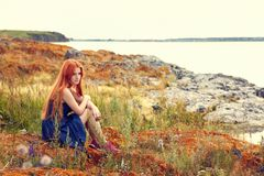 Free Redhead Woman In A Dress Stock Photography - 114632022