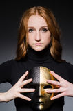Redhead woman iwith mask Stock Photo