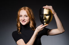 Redhead woman iwith mask Stock Photos