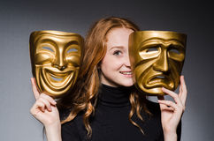 Redhead woman iwith mask stock images