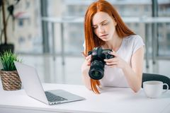 Redhead woman looking at camera while working on laptop. Young redhead woman looking at camera while working on laptop. Photographer with her camera and laptop Stock Image