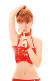 Redhead woman Making Silence Gesture isolated. Beautiful redhead woman Making Silence Gesture isolated on white Stock Photography