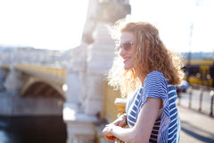 Redhead woman on Margaret bridge Stock Photography