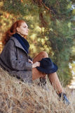 Redhead woman outdoors Stock Photography