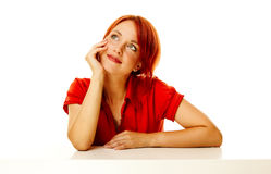 Redhead woman over white Royalty Free Stock Images