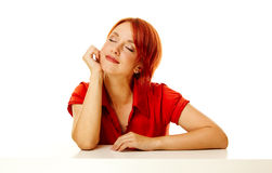 Redhead woman over white Stock Photo