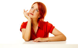 Redhead woman over white Stock Image