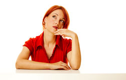 Redhead woman over white Royalty Free Stock Photography