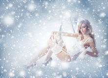 A redhead woman posing in white lingerie on the snow Stock Photography