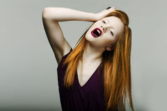 Shock. Neurotic Unhappy Red Head Woman Pulling Her Hair in Frustration. Scream Stock Photos