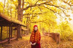 Redhead woman in red coat on picturesque autumn background. Picturesque september landscape. Girl on background of forest with ora stock images
