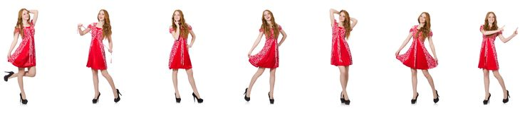 The redhead woman in red dress royalty free stock photo